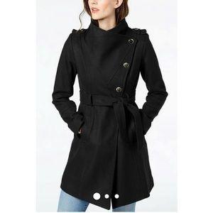 Guess Asymmetrical Button Wool Blend Wrap Coat